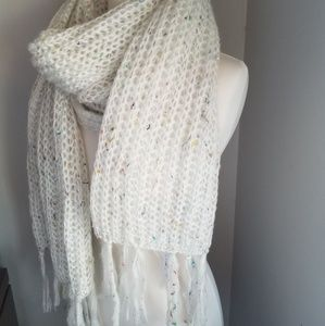NEW! Cozy cream scarf w/multi colors throughout.